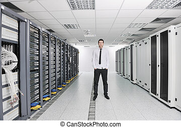 datacenter, kelner kamer, engeneer, jonge