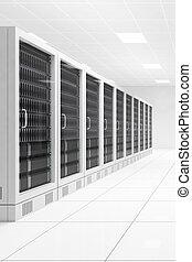 datacenter, met, twee, rijen, van, computers, centraal, aanzicht