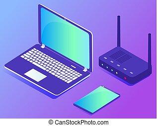 datacenter, modem, informatique, tablette, ordinateur portable