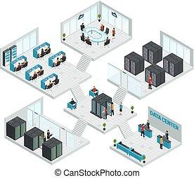 datacenter, multistore, composition, isométrique