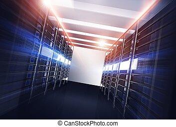 datacenter, ruelle, serveurs