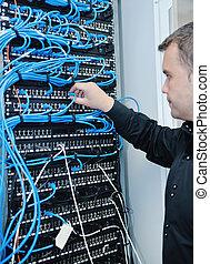datacenter, rum, unge, det, server, engeneer