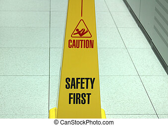 Datacenter safety. - Safety zone marker in a datacenter...