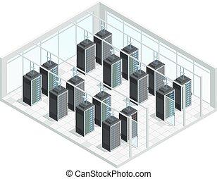 datacenter, salle, intérieur, serveur