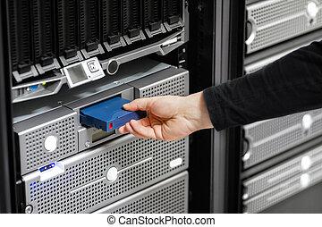 datacenter, san, dur, positionnement, conduire, technicien, mâle