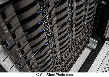 datacenter, san, serveur, cabinet, disque, étagère