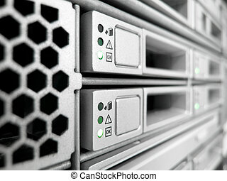 datacenter server - rack of modern corporate servers in new...