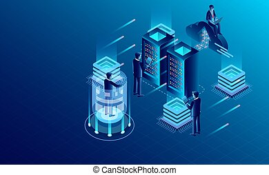 Datacenter server room cloud storage technology and big data processing Protecting data security concept. digital information. isometric. dark neon vector