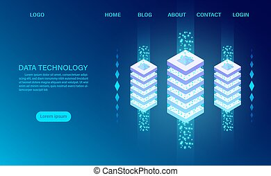 Datacenter server room cloud storage technology and big data processing Protecting data security concept. digital information. isometric. cartoon vector