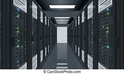 Datacenter Server Room Flying Through. Abstract Looped 3d Animation of Computer Rows Servers Racks in Data Center with Flickering Lights Seamless. Digital Technology Concept. 4k Ultra HD 3840x2160