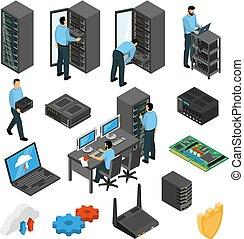 datacenter, udrustning, sæt, isometric