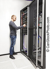 datacenter, vernetzung, berater, ihm, bauen, gestell
