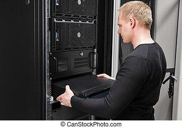 datacenter, vernetzung, berater, ihm, installieren, router