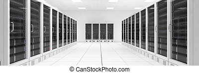 Datacenter with two rows of computers central view - ...