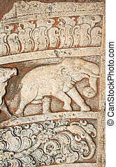 Datail of ornaments with elephant on moonstone, Anuradhapura, Sri Lanka