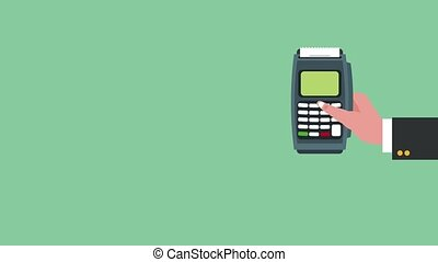 Dataphone and credit card HD animation