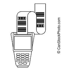 dataphone with receipt icon line design