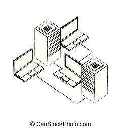dataserver center network laptop data storage
