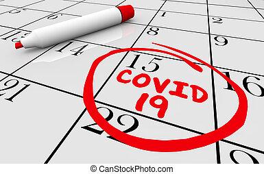 date, éruption, coronavirus, 3d, jour, essai, calendrier, pandémie, illustration, covid-19