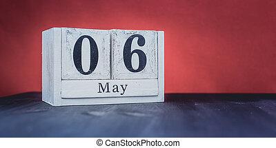 date, 6ème, année, printemps, beau, saison, symboles, la plupart, 6, blocs, blanc, -, mai, positif
