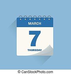 date, 7., calendrier, mars, jour