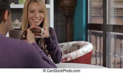 date, a, couple, café
