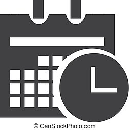 Date and time icon in black on a white background. Vector...