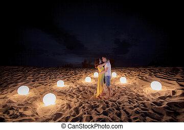 date, beach, candle