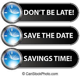 date, bouton, sauver, temps