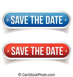 date, bouton, sauver, vecteur
