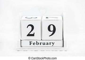 date, calendrier, février