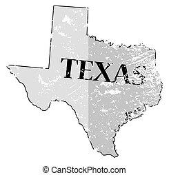 date, carte, état, grunged, texas