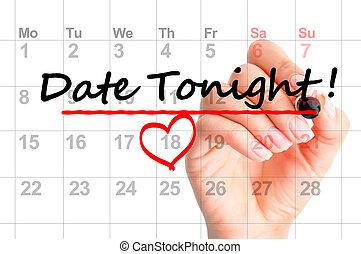 date, cette nuit, calendrier, marqué
