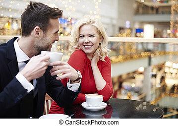 date, couple, achats, avoir, centre
