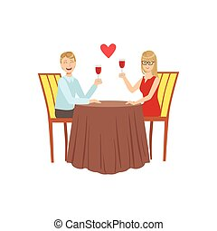 date, couple, amour, restaurant