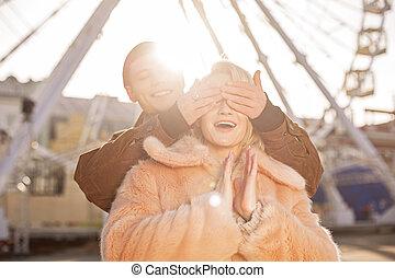 date, couple, bonheur, romantique, exprimer