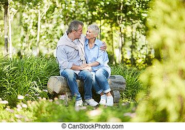 date, couple, parc, personne agee