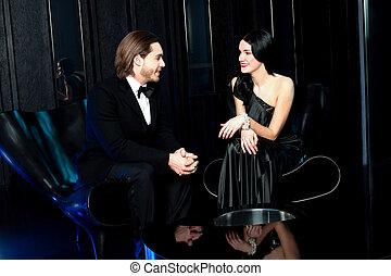 date, couple, romantique, intelligent