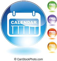 date, cristal, calendrier, icône