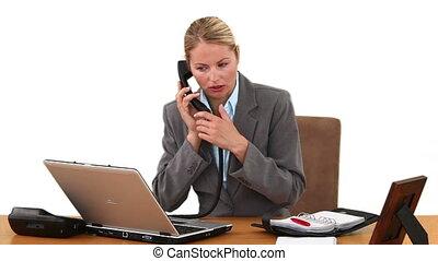 date, femme affaires, monture, réunion