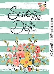 date, floral, sauver, card.