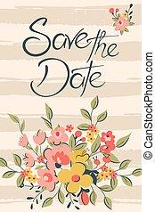 date, floral, sauver, carte