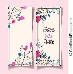 date, fowers, décoratif, cartes, floral, sauver, mariage