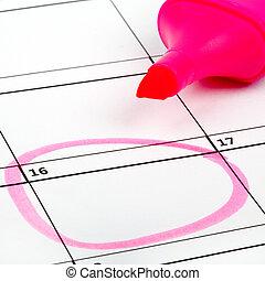 Date Highlighted on a Calendar