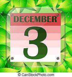 date, icon., vert, décembre, jour, planification, calendrier, leaves., 3, important