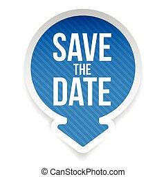 date, lettrage, sauver, étiquette