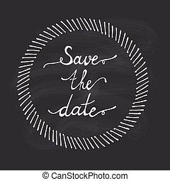 date, lettrage, sauver, main