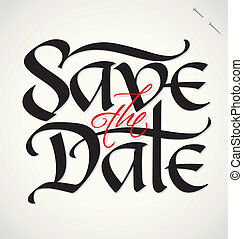 date, lettrage, vecteur, sauver, main