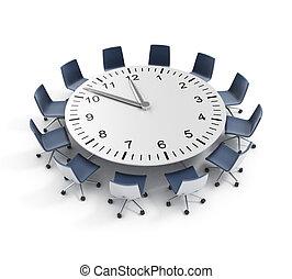 date limite, table, réunion, rond