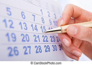 date, marquer, 15, calendrier, main